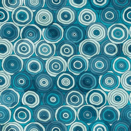 color range: marine color circles seamless pattern with grunge effect