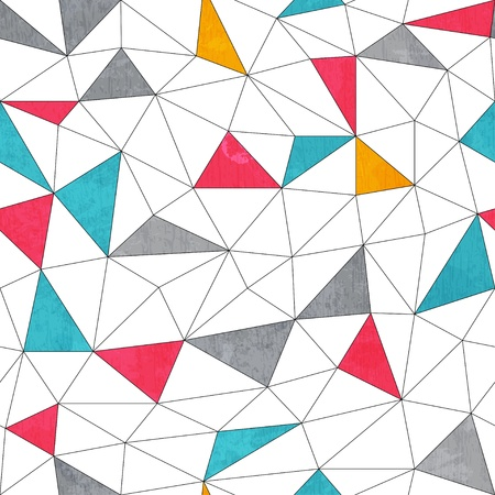 abstract color triangle seamless pattern with grunge effect Vector