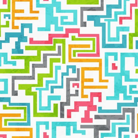 mondrian: abstract colored geometric seamless pattern with grunge effect Illustration