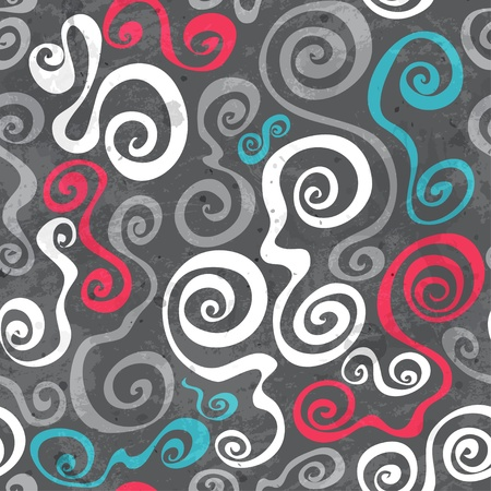 abstract grunge seamless pattern with curved spirals Stock Vector - 19279971