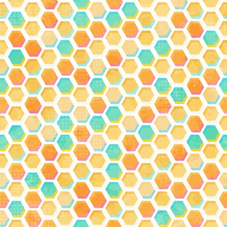 abstract honeycomb seamless pattern with grunge effect Vector