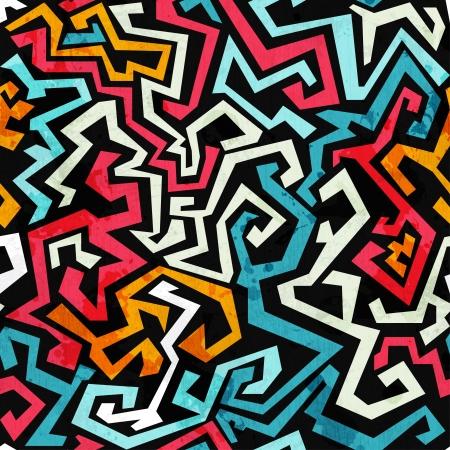 Graffiti Kurven nahtlose Muster mit Grunge-Effekt