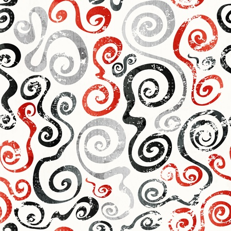 linear: red swirls seamless pattern with grunge effect Illustration
