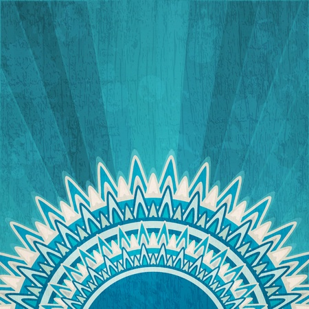 grunge shape: vintage blue sun background with grunge effect