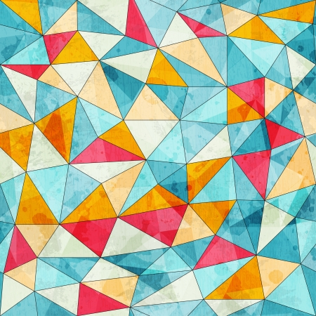 vintage colored triangles seamless pattern with grunge effect
