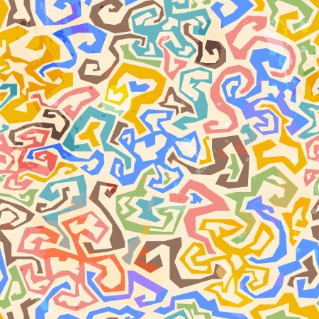 mishmash: colored maze seamless pattern with grunge effect
