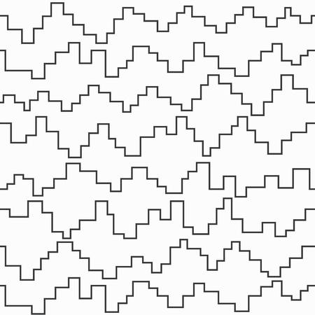 arte optico: pixel blanco y negro sin fisuras patrón zigzag Vectores