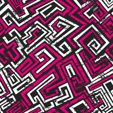 abstract pink maze seamless pattern with grunge effect Vector