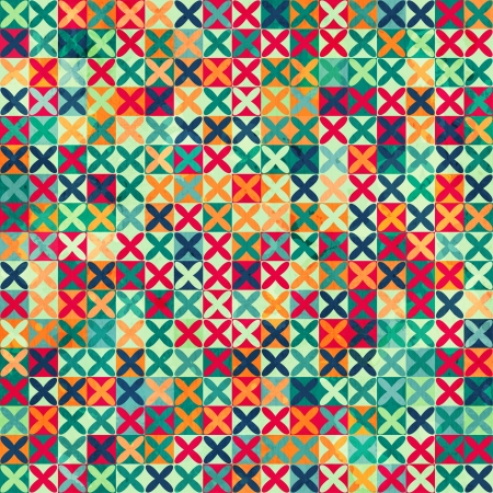 colored crosses seamless pattern with grunge effect Stock Vector - 21504948