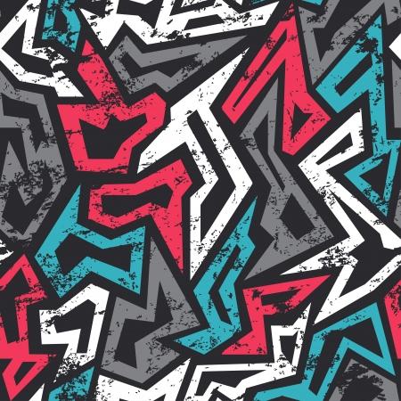 落書き: グランジ効果を持つ着色された落書きのシームレスなパターン