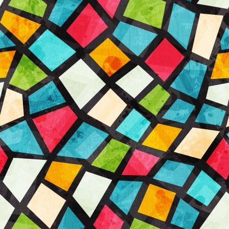 window graffiti: colored mosaic seamless pattern with grunge effect Illustration