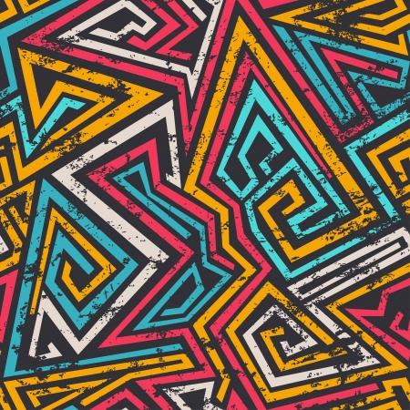 kunst: farbige Spirale Linien nahtlose Muster mit Grunge-Effekt