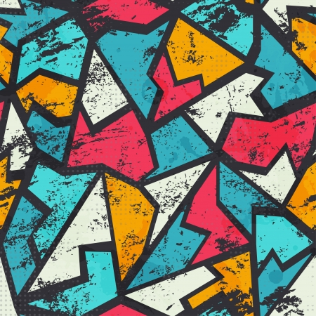 grunge colored graffiti seamless pattern