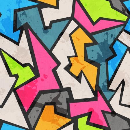 grunge gekleurde graffity naadloze patroon Stock Illustratie