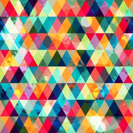 グランジ色付きの三角形のシームレスなパターン  イラスト・ベクター素材
