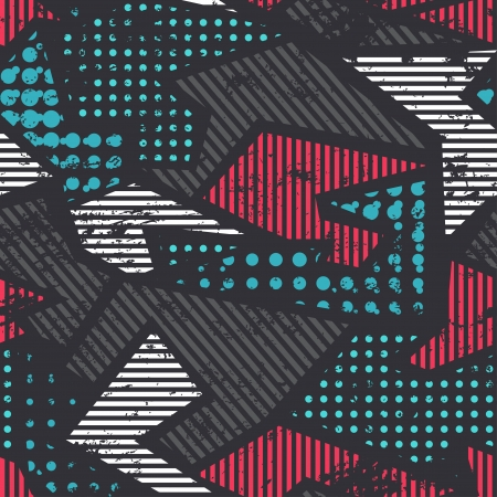 grunge geometric seamless pattern