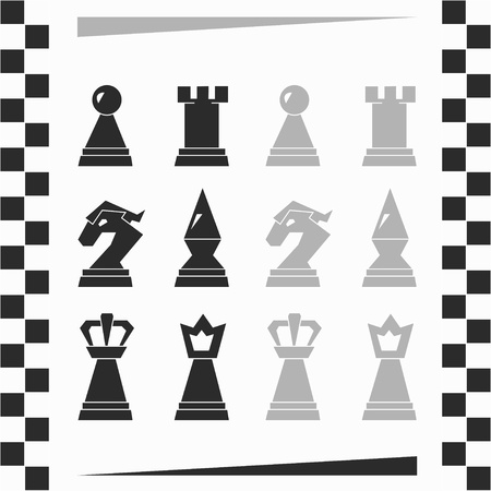 monochrome chessmen silhouette Vector