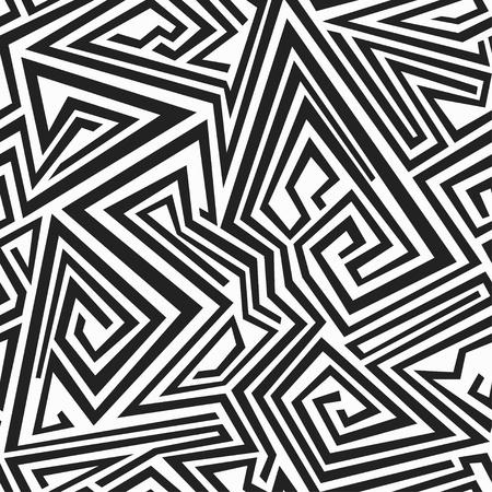 black floor: monochrome spiral lines seamless pattern