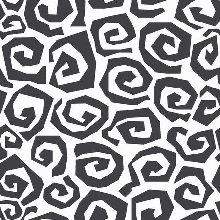 monochrome spiral seamless pattern Vector