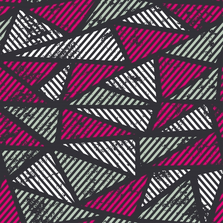 geometric pattern in a square: pink triangle seamless pattern with grunge effect Illustration