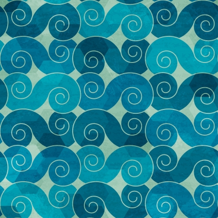 spiral waves seamless pattern with grunge effect Ilustracja