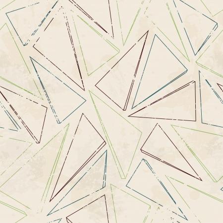 グランジ効果を持つ三角形輪郭のシームレスなパターン