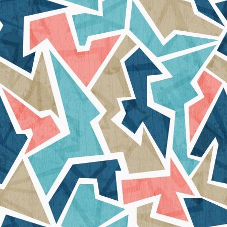 ビンテージの幾何学的三角形のシームレスなパターン  イラスト・ベクター素材