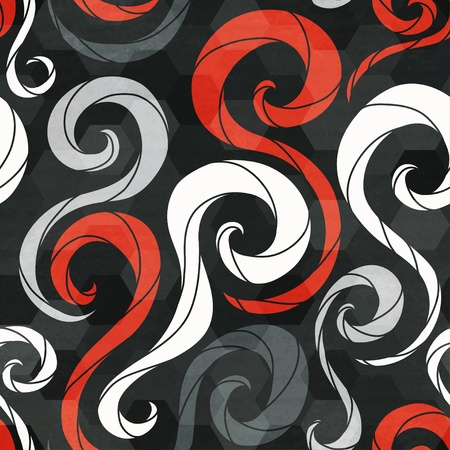 vintage red spirals seamless pattern with grunge effect Vector