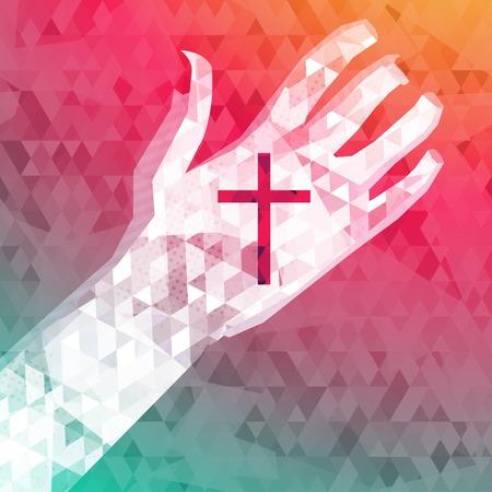 alabanza: resumen de antecedentes de la mano izquierda con la cruz cristiana