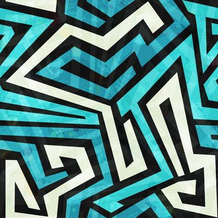 グランジ効果と青い迷路シームレス テクスチャ