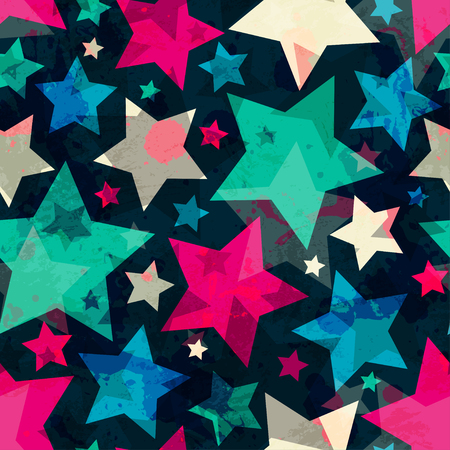 bright star seamless pattern with grunge effect Vector
