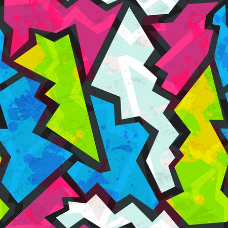 colored graffiti seamless pattern with grunge effect Vector