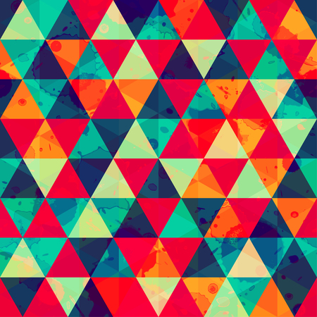 colored triangle seamless pattern with blot effect Vector