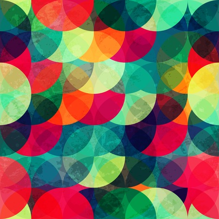 colorful circle seamless pattern with grunge effect 일러스트