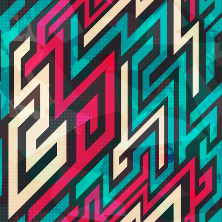 tetris: colorful maze seamless pattern with grunge effect