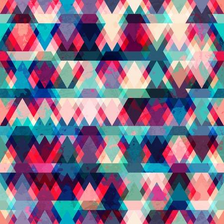 グランジ効果とカラフルな三角形のシームレスなパターン