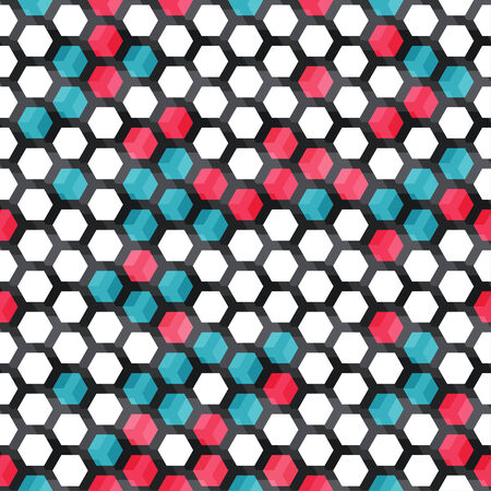 blue and red color cells seamless pattern Vector