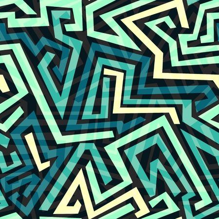 青い迷路のシームレス パターン  イラスト・ベクター素材
