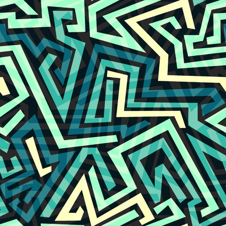 video wall: blue maze seamless pattern Illustration