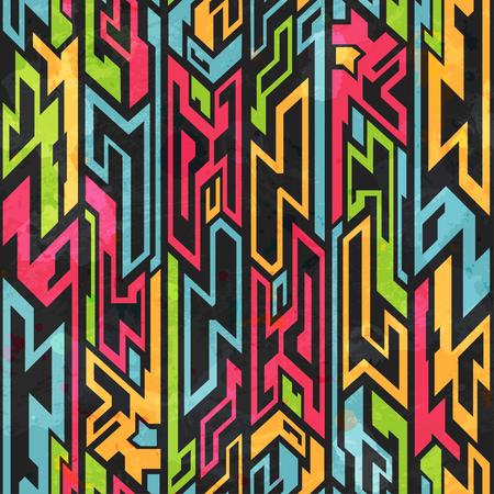 cultura maya: color transparente patrón pinturas tribales Vectores