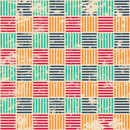 colored woven seamless pattern with grunge effect Illustration