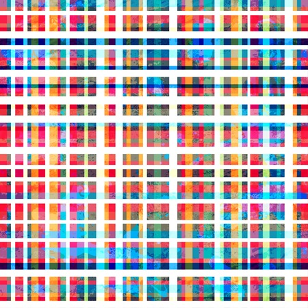 colorful grid seamless pattern with grunge effect Illustration