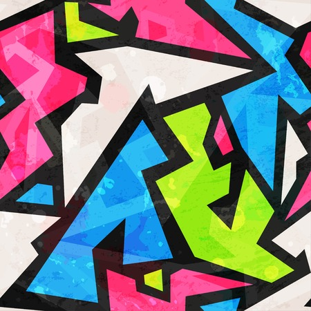 graffiti art: graffiti geometric seamless pattern with grunge effect