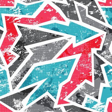 落書きモザイク グランジ効果とのシームレスなパターン  イラスト・ベクター素材