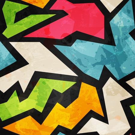 graffiti mosaic seamless pattern with grunge effect Vector