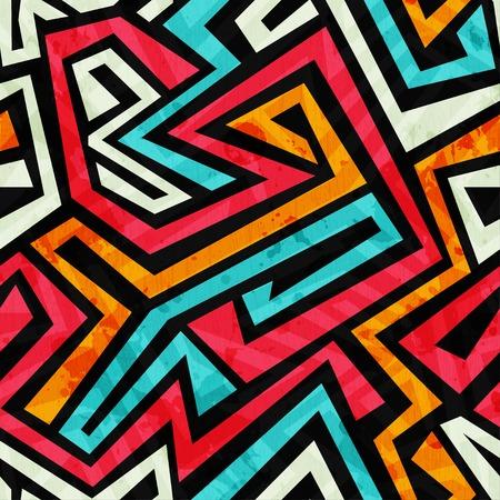 グランジ効果と落書き部族シームレス テクスチャ  イラスト・ベクター素材