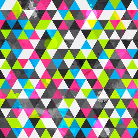 grunge colored triangle seamless pattern
