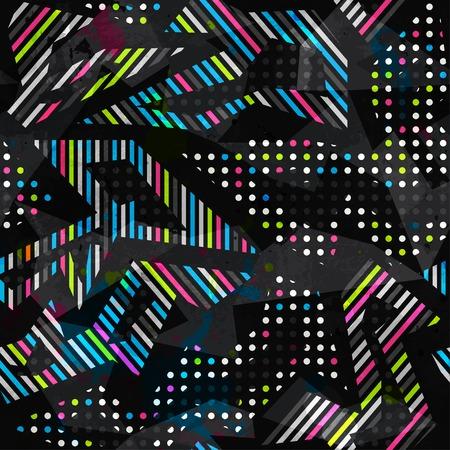 グランジ スペクトル色の幾何学的なシームレス パターン