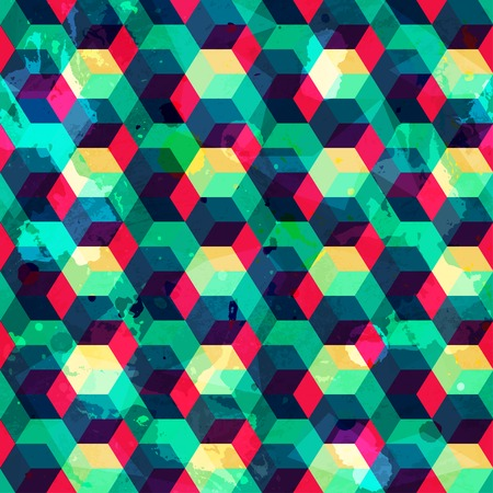 hipster squares seamless pattern with grunge effect Vector
