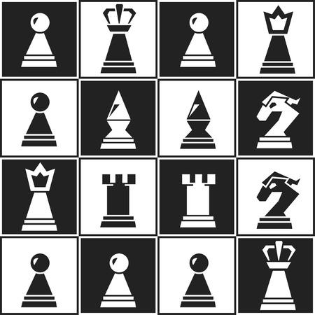chess: monochrome chess seamless pattern